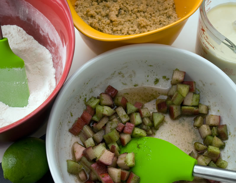 Rhubarb Cardamom Lime Muffins Mise-en-Place