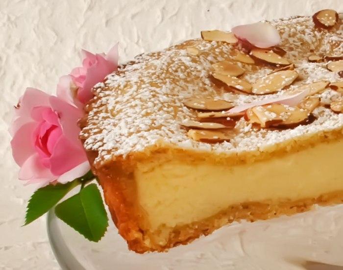 Lemon & Rose Petal Ricotta Tart with Toasted Almond Crust (Torta della Nonna)