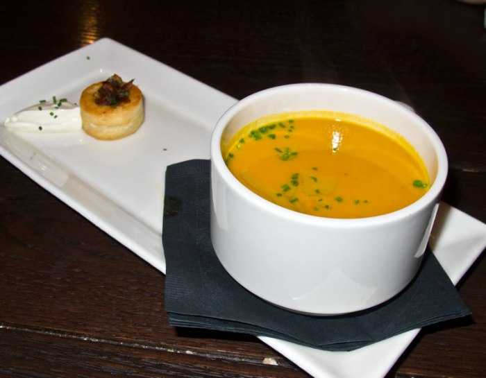 Winter Squash Soup Boston: Sel de la Terre's Native Squash Soup with Smoked Maple Syrup, Sweet Onion-Date Vol Au Vent & Crème Fraiche