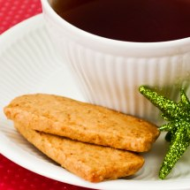 Coconut Vanilla Lime Shortbread with Cup of Christmas Tea