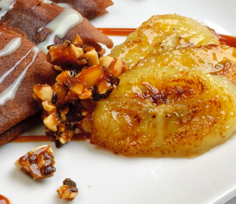 Spirited Mocha Crepes with Peanut Butter Caramel, Peanut-Cocoa Nib Brittle & White Chocolate Crema