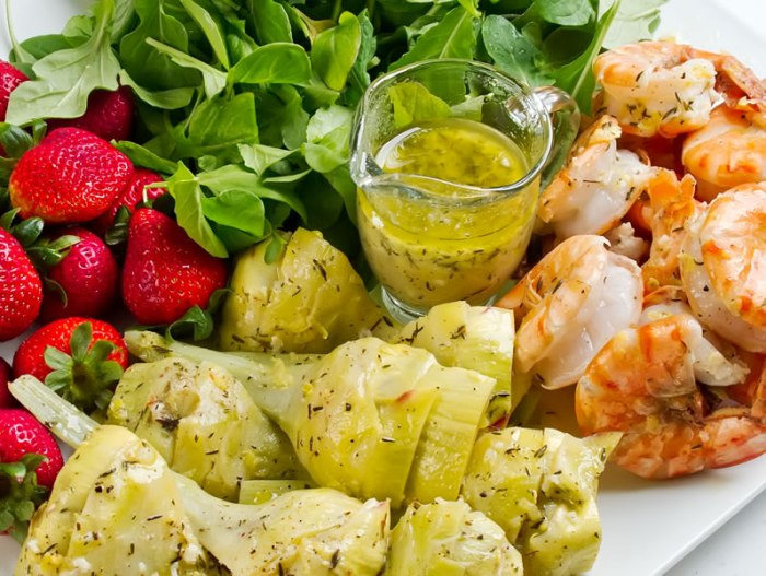emon & Thyme Marinated Artichoke, Tiger Prawn & Strawberry Salad