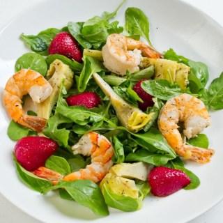 Lemon & Thyme Marinated Artichoke, Tiger Prawn & Strawberry Salad