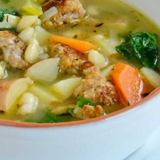 Cannellini Bean Soup with Italian Sausage, Fingerling Potatoes & Broccoli Raab