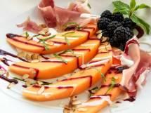 uscan Melon & Blackberry Salad with Yogurt Chevre Dressing & Pancetta | LunaCafe