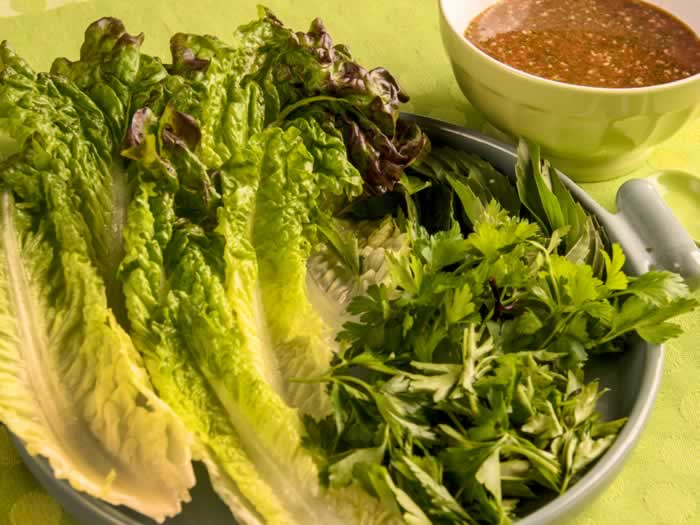 Lettuce Leaves, Fresh Herbs & Nuoc Cham Dipping Sauce