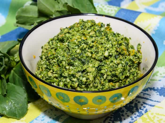 Fava Bean Greens, Walnut & Orange Pesto in Bowl