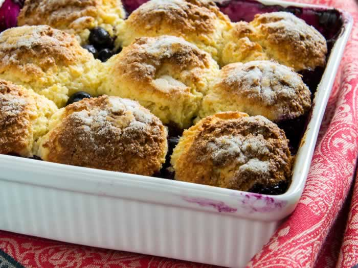 Blueberry Cobbler with Maple, Lemon & Sour Cream Cornmeal Biscuits