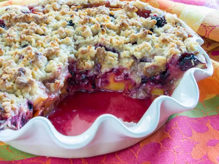 Peach & Blackberry Pie with Coconut Streusel