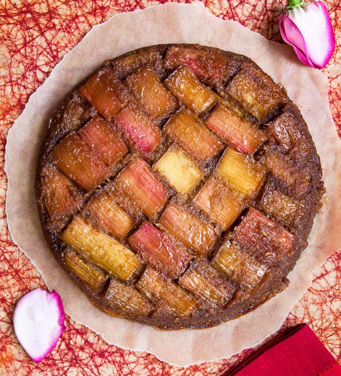 Rhubarb and Rose Upside Down Cake| LunaCafe