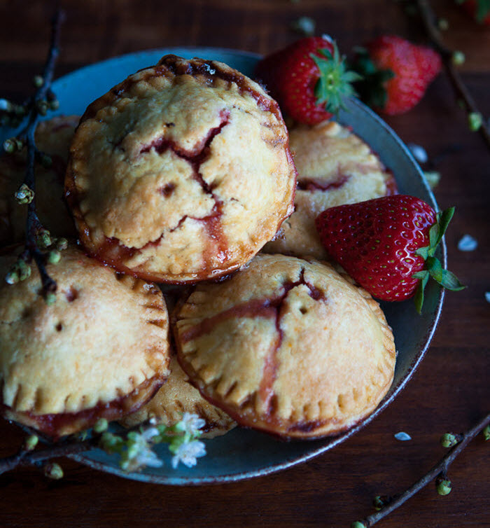 Rhubarb and Strawberry Hand Pies with Rose, Vanilla and Creme de Cassis | LunaCafe