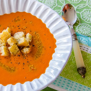 Chilled Creole Tomato Soup with Olive Lemon Tapenade