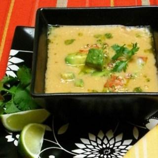 Sweet Corn Soup with Prawn, Avocado, & Lime Escabeche