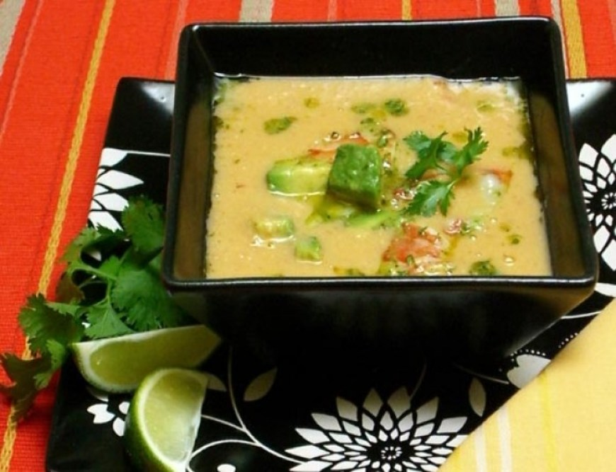 Fresh Corn Soup with Prawn, Avocado, & Lime Escabeche