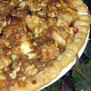 Apple Cranberry Deep Dish Pie with Toasted Walnut Streusel
