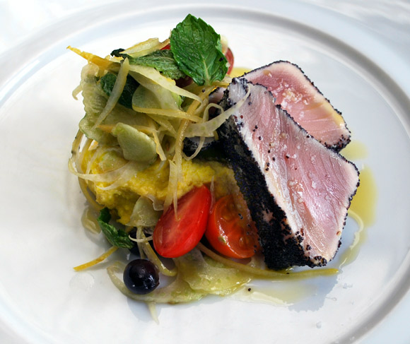 Vitaly Paley's Poppy Seed–Crusted Albacore Tuna with Chickpea Puree ...