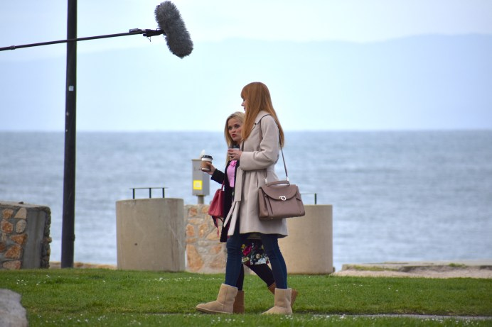 Actresses Reese Witherspoon (left) and Nicole Kidman (right) running lines for the next scene. They wore Ugg boots during rehearsals then quickly changed into heels. Photo by Noelle Pipp.