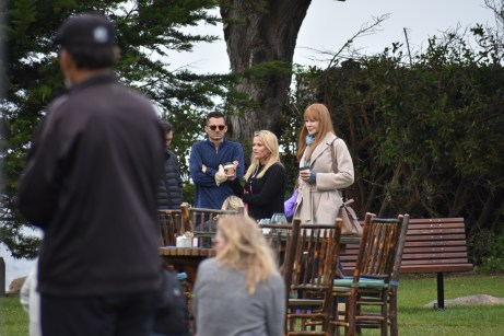 Actresses Reese Witherspoon (left) and Nicole Kidman (right) discussing the next scene on set. Photo by Noelle Pipp.