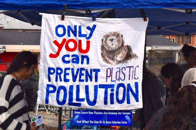 """Sign at Whalefest reading: """"Only you can prevent plastic pollution"""""""