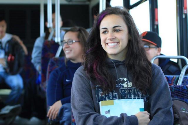 CSUMB student on MST bus.