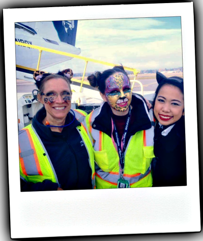 Flight Attendants show their Halloween Spirit, in air costumes