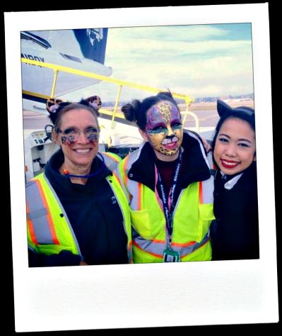 Flight Attendants show their Halloween Spirit, in air costumes