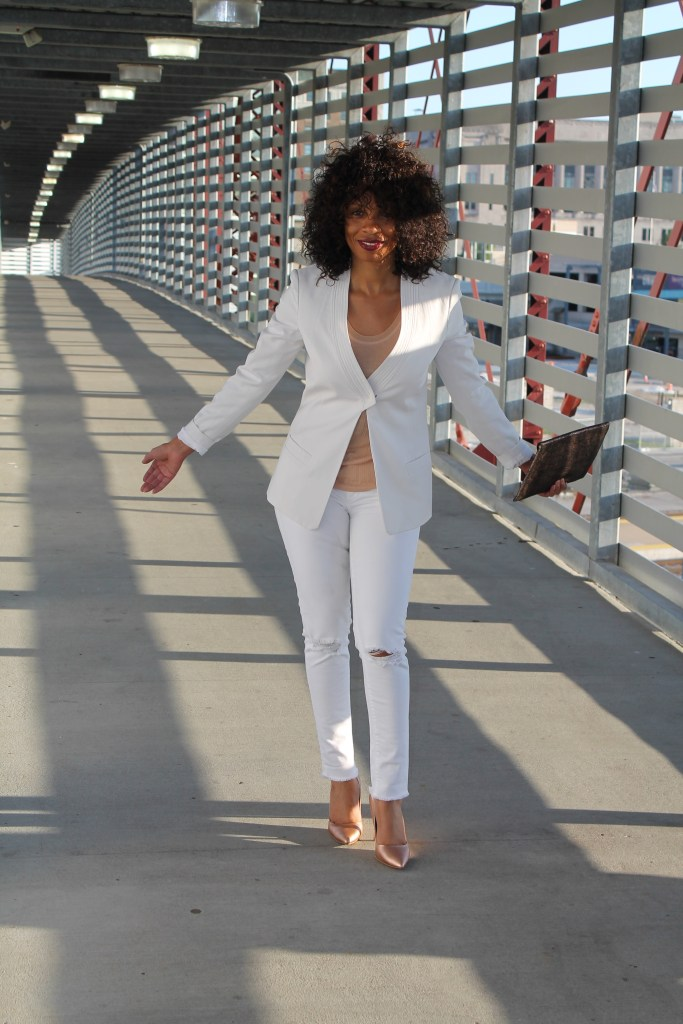 chic and edgy white suit