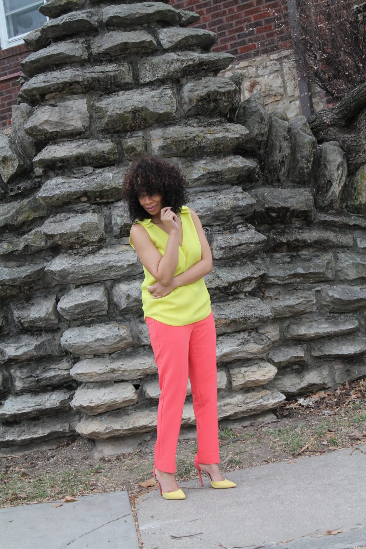 tailored coral pants