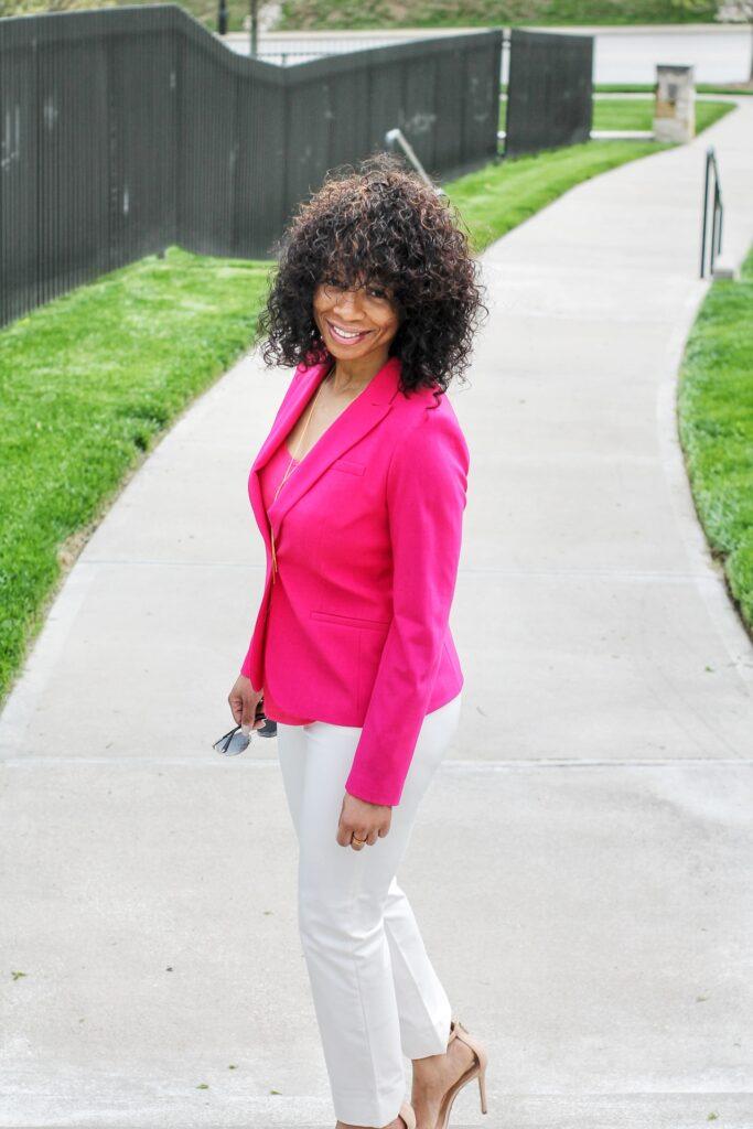 think pink, pink blazer