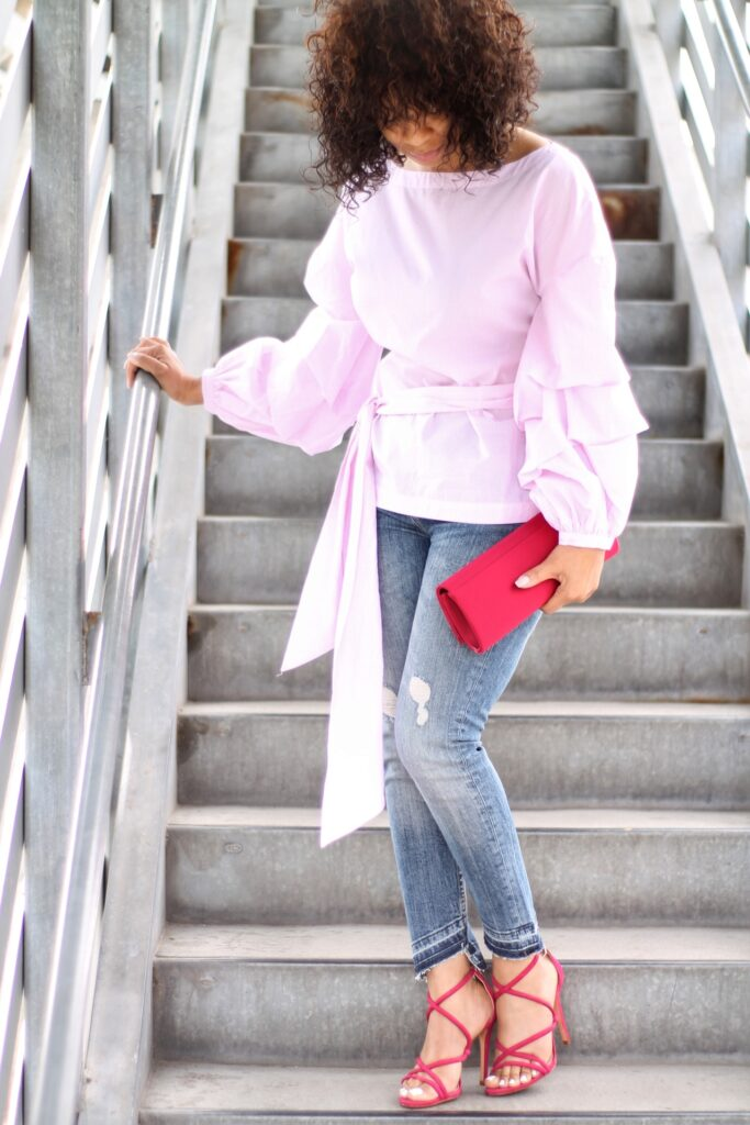 gingham and statement sleeves