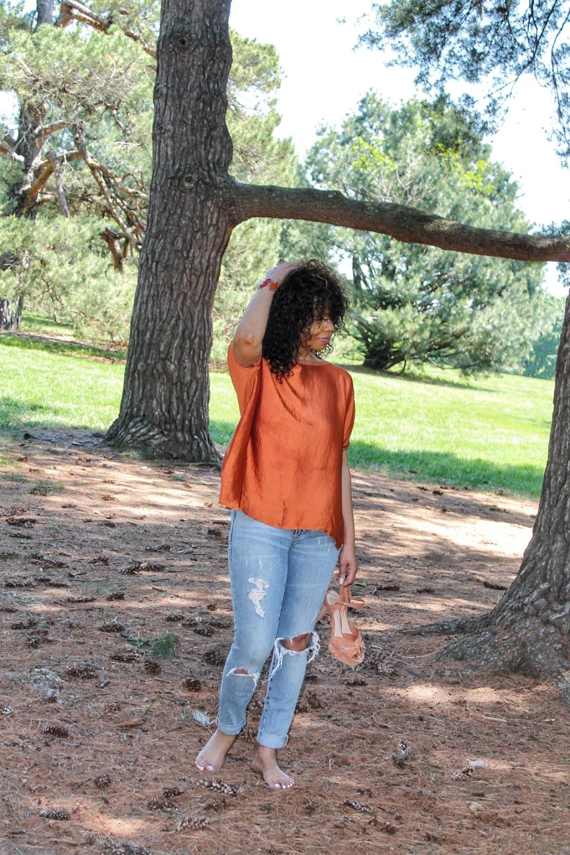 When Grass Attacks, Oversized Orange Blouse, Oversized Blouse