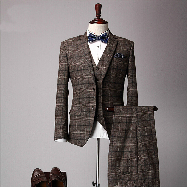 LUX Magazine Male-Slim-Suits-Three-Piece-Set-Fashion-Vintage-Men-Brown-Plaid-Married-Suit-Mans-Winter-Casual The History of Suits (that you never knew you interested in knowing.....until now)