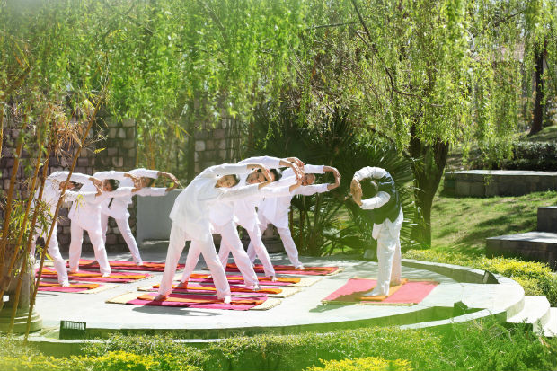 Exercise session at Ananda, India