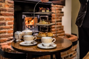 Afternoon tea at Swan at Lavenham Hotel and Spa - fireside