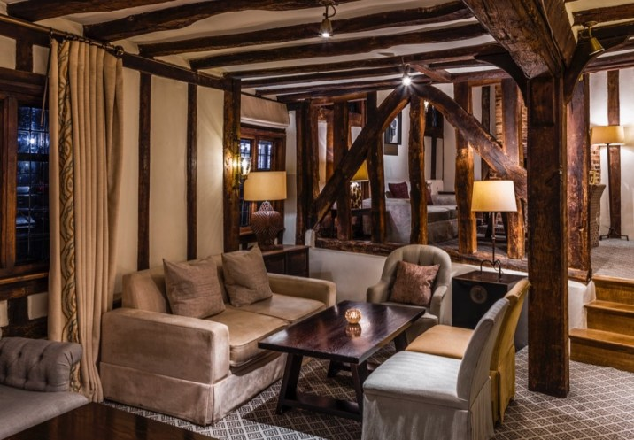 Swan at Lavenham Hotel and Spa cosy nooks in beamed lounge - med