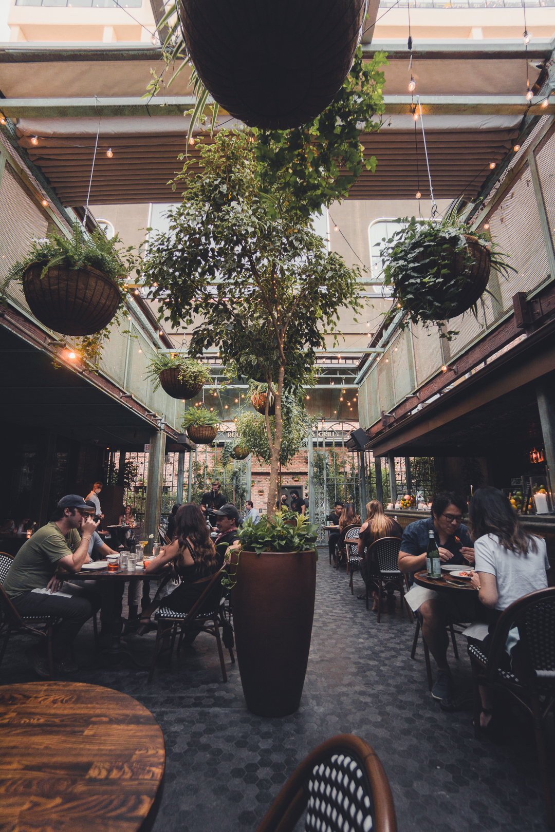 Interior Courtyard Dining at Fingers Crossed
