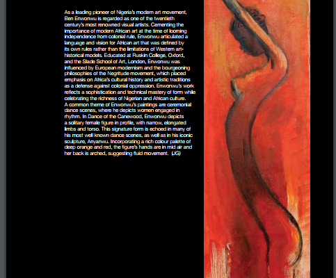 ben enwonwu dance of the canewood, an oil on canvas from 1981