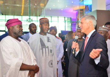 L-R: Sam Iwuajoku, Director of Quits Hospitality Limited; Hadi Sirika, Minister of State for Aviation, Nigeria and Chris Nassetta, Chief Executive Officer of Hilton; at the grand opening of Legend Hotel Lagos Airport, a Curio Collection by Hilton recently.