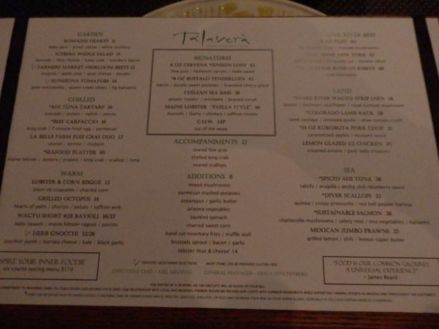 TALEVERA RESTAURANT DINNER MENU