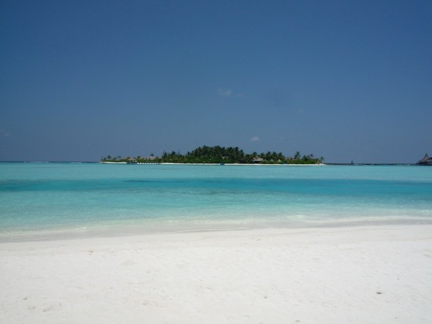 NALADHU ISLAND AS SEEN FROM DHIGU ISLAND