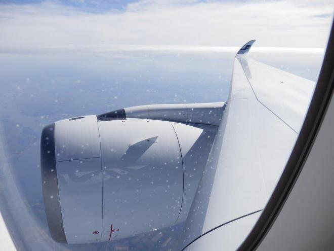 VIEW ON ENGINE AND WING (INFLIGHT)