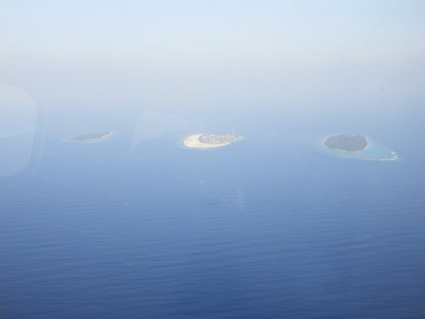 AERIAL VIEW OF SONEVA FUSHI (ISLAND ON THE RIGHT)