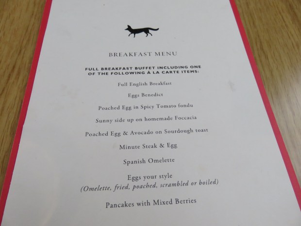 MR PORTER RESTAURANT: BREAKFAST