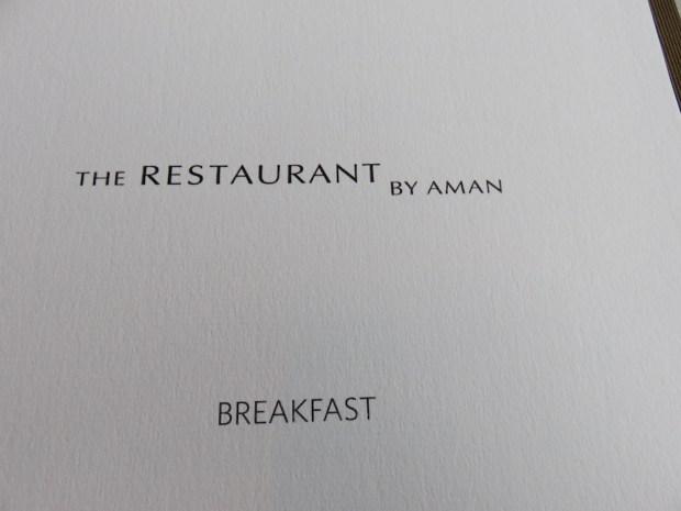 THE RESTAURANT BY AMAN: BREAKFAST
