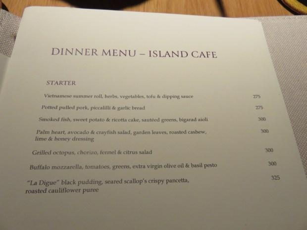ISLAND CAFE: DINNER
