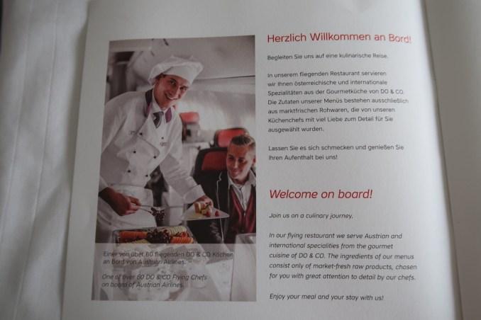 AUSTRIAN AIRLINES BUSINESS CLASS MENU
