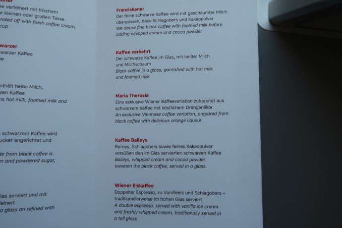 AUSTRIAN AIRLINES BUSINESS CLASS COFFEE MENU