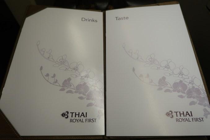 THAI AIRWAYS B747 FIRST CLASS MENU