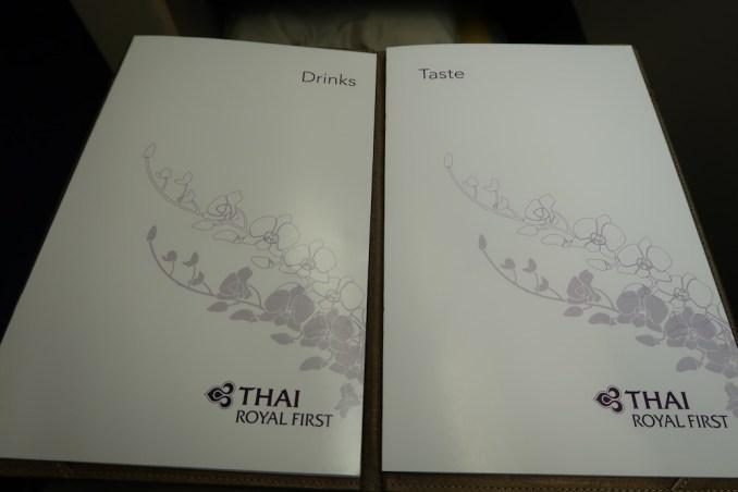 THAI AIRWAYS B747 FIRST CLASS WINE LIST