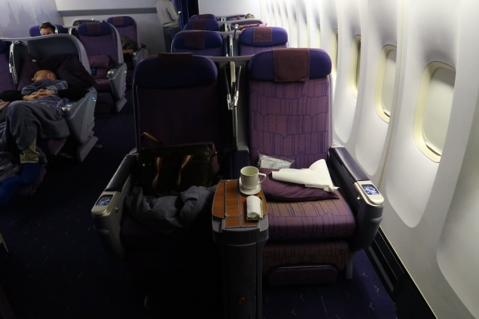 THAI AIRWAYS B747 BUSINESS CLASS ON THE LOWER DECK